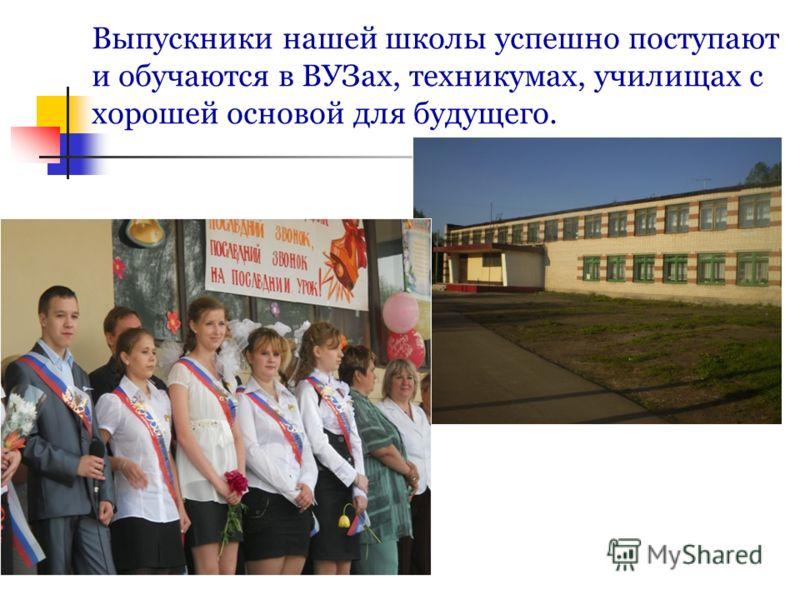 Выпускники нашей школы успешно поступают и обучаются в ВУЗах, техникумах, училищах с хорошей основой для будущего.