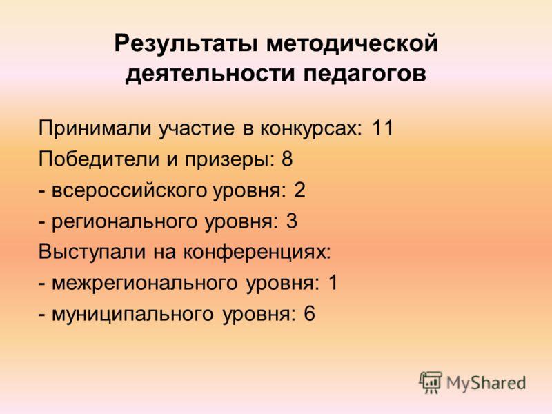 Результаты методической деятельности педагогов Принимали участие в конкурсах: 11 Победители и призеры: 8 - всероссийского уровня: 2 - регионального уровня: 3 Выступали на конференциях: - межрегионального уровня: 1 - муниципального уровня: 6