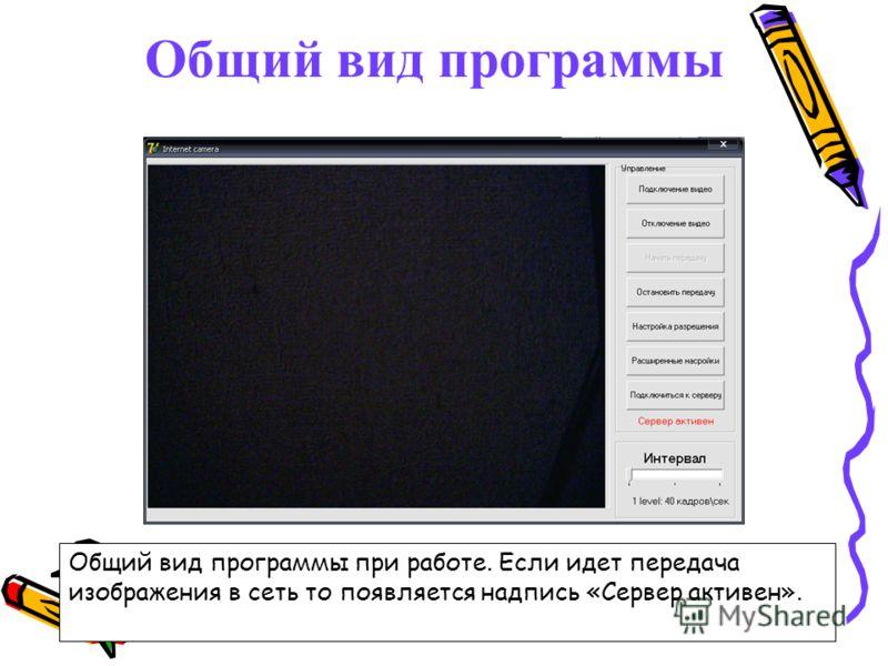 Общий вид программы Общий вид программы при работе. Если идет передача изображения в сеть то появляется надпись «Сервер активен».