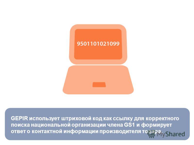 GEPIR использует штриховой код как ссылку для корректного поиска национальной организации члена GS1 и формирует ответ о контактной информации производителя товара.
