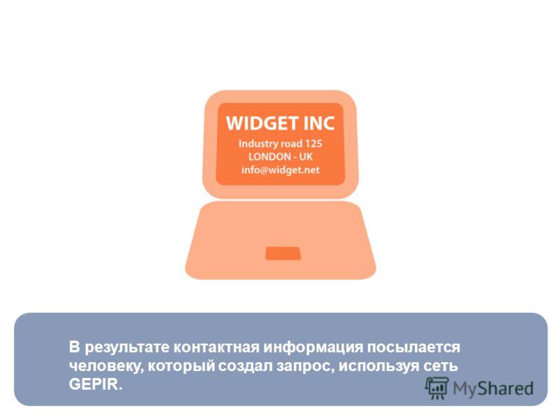 В результате контактная информация посылается человеку, который создал запрос, используя сеть GEPIR.