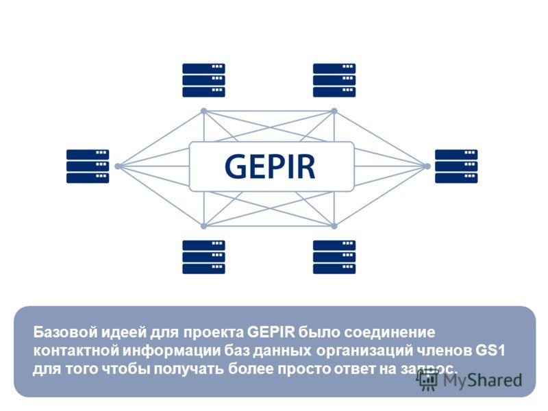 Базовой идеей для проекта GEPIR было соединение контактной информации баз данных организаций членов GS1 для того чтобы получать более просто ответ на запрос.