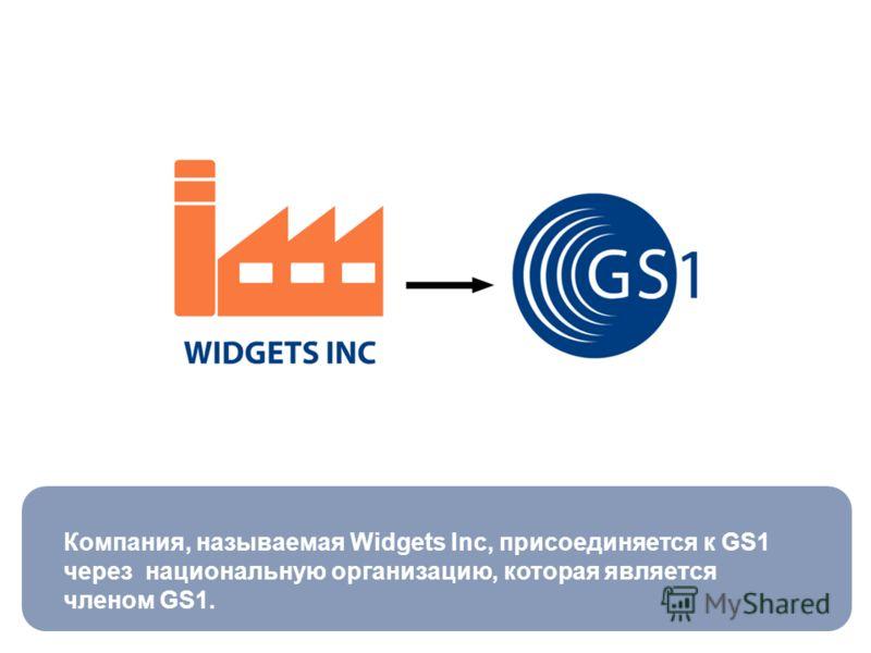 Компания, называемая Widgets Inc, присоединяется к GS1 через национальную организацию, которая является членом GS1.