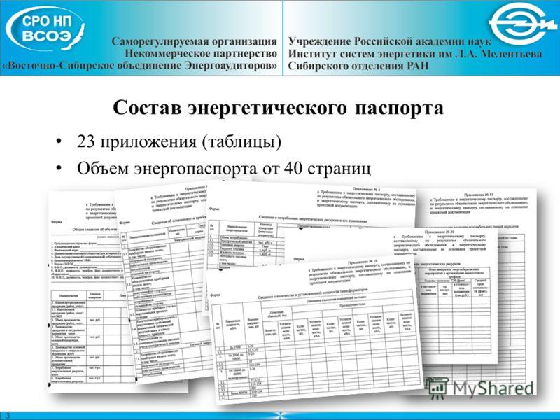 3 Состав энергетического паспорта 23 приложения (таблицы) Объем энергопаспорта от 40 страниц