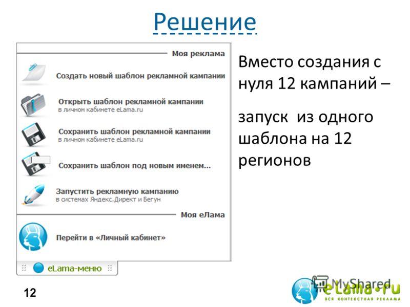 Решение Трудоемко Долго 12 Вместо создания с нуля 12 кампаний – запуск из одного шаблона на 12 регионов