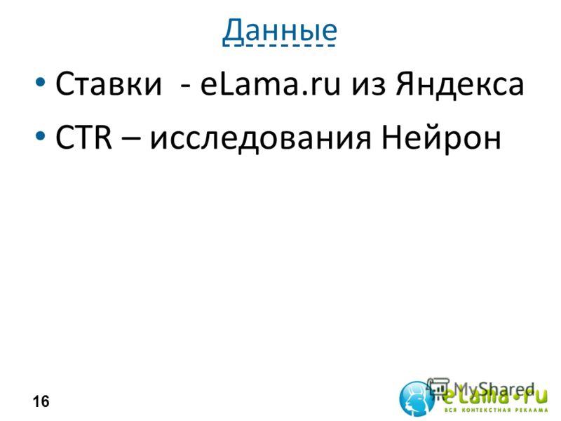 Данные Ставки - eLama.ru из Яндекса CTR – исследования Нейрон 16