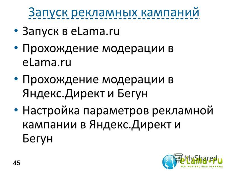Запуск рекламных кампаний Запуск в eLama.ru Прохождение модерации в eLama.ru Прохождение модерации в Яндекс.Директ и Бегун Настройка параметров рекламной кампании в Яндекс.Директ и Бегун 45