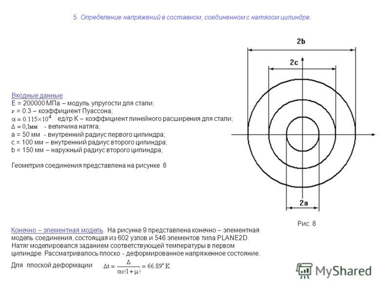 5. Определение напряжений в составном, соединенном с натягом цилиндре. Рис. 8 Входные данные E = 200000 МПа – модуль упругости для стали; = 0.3 – коэффициент Пуассона; ед/гр К – коэффициент линейного расширения для стали; - величина натяга; a = 50 мм