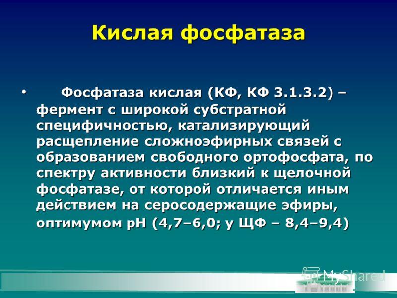 Кислая фосфатаза Фосфатаза кислая (КФ, КФ 3.1.3.2) – фермент с широкой субстратной специфичностью, катализирующий расщепление сложноэфирных связей с образованием свободного ортофосфата, по спектру активности близкий к щелочной фосфатазе, от которой о