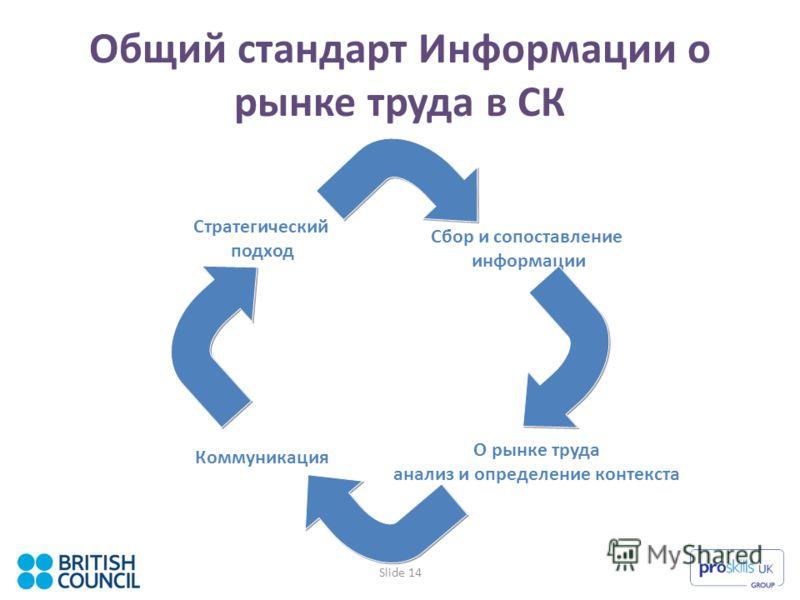 Slide 14 Общий стандарт Информации о рынке труда в СК О рынке труда анализ и определение контекста Стратегический подход Сбор и сопоставление информации Коммуникация