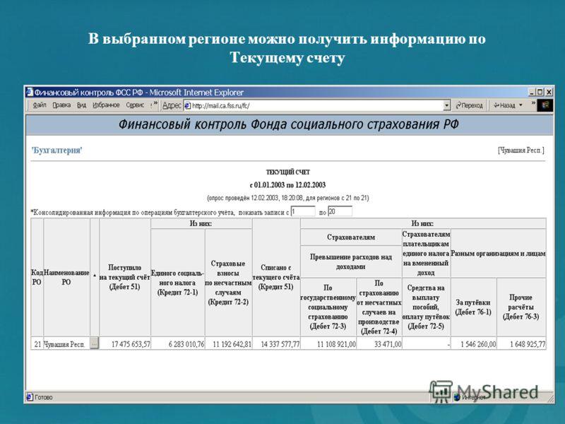 В выбранном регионе можно получить информацию по Текущему счету