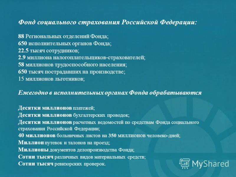 Фонд социального страхования Российской Федерации: 88 Региональных отделений Фонда; 650 исполнительных органов Фонда; 22.5 тысяч сотрудников; 2.9 миллиона налогоплательщиков-страхователей; 58 миллионов трудоспособного населения; 650 тысяч пострадавши