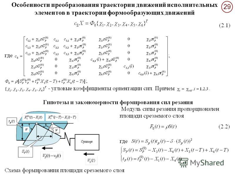 29 Особенности преобразования траектории движений исполнительных элементов в траектории формообразующих движений