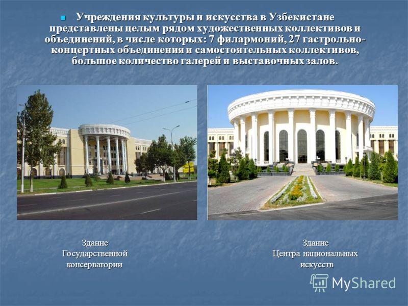 Учреждения культуры и искусства в Узбекистане представлены целым рядом художественных коллективов и объединений, в числе которых: 7 филармоний, 27 гастрольно- концертных объединения и самостоятельных коллективов, большое количество галерей и выставоч
