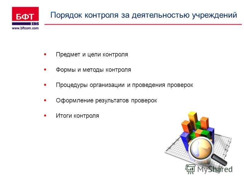 Предмет и цели контроля Формы и методы контроля Процедуры организации и проведения проверок Оформление результатов проверок Итоги контроля