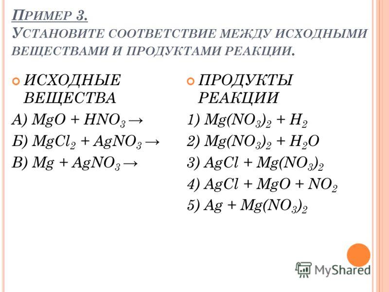 П РИМЕР 3. У СТАНОВИТЕ СООТВЕТСТВИЕ МЕЖДУ ИСХОДНЫМИ ВЕЩЕСТВАМИ И ПРОДУКТАМИ РЕАКЦИИ. ИСХОДНЫЕ ВЕЩЕСТВА А) MgO + HNO 3 Б) MgCl 2 + AgNO 3 В) Mg + AgNO 3 ПРОДУКТЫ РЕАКЦИИ 1) Mg(NO 3 ) 2 + H 2 2) Mg(NO 3 ) 2 + H 2 O 3) AgCl + Mg(NO 3 ) 2 4) AgCl + MgO +