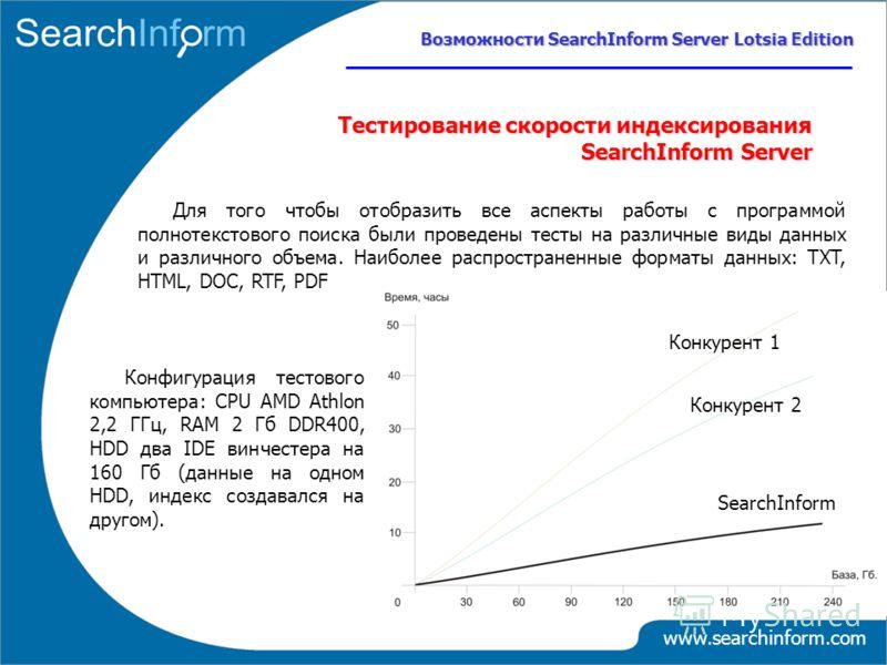 www.searchinform.com Тестирование скорости индексирования SearchInform Server Возможности SearchInform Server Lotsia Edition Для того чтобы отобразить все аспекты работы с программой полнотекстового поиска были проведены тесты на различные виды данны