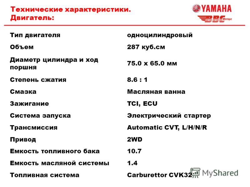 Технические характеристики. Двигатель: Тип двигателяодноцилиндровый Объем287 куб.см Диаметр цилиндра и ход поршня 75.0 x 65.0 мм Степень сжатия8.6 : 1 СмазкаМасляная ванна ЗажиганиеTCI, ECU Система запускаЭлектрический стартер ТрансмиссияAutomatic CV