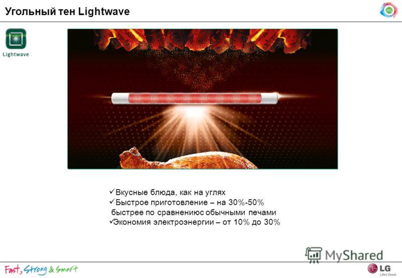 Угольный тен Lightwave Вкусные блюда, как на углях Быстрое приготовление – на 30%-50% быстрее по сравнениюс обычными печами Экономия электроэнергии – от 10% до 30%