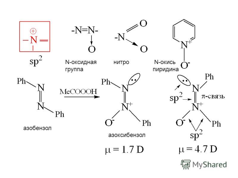 N-оксидная нитро N-окись группа пиридина азобензол азоксибензол