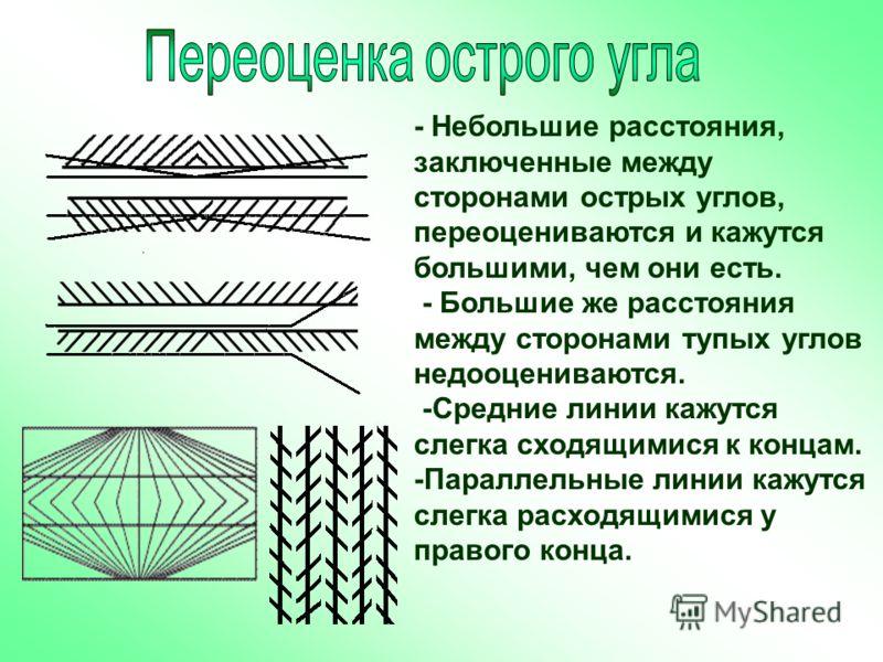 Темная заполненная полоса придает большую видимую величину. На рис. прямоугольники А и Д кажутся выше, чем В и С.