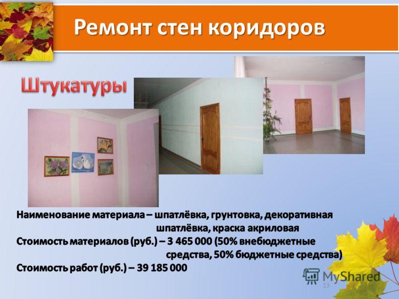 Ремонт стен коридоров 13