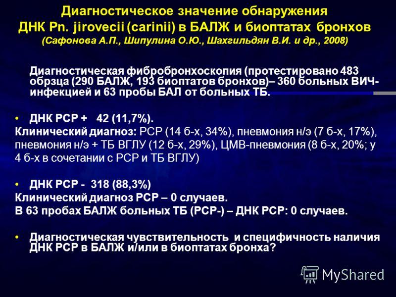 Диагностическое значение обнаружения ДНК Pn. jirovecii (carinii) в БАЛЖ и биоптатах бронхов (Сафонова А.П., Шипулина О.Ю., Шахгильдян В.И. и др., 2008) Диагностическая фибробронхоскопия (протестировано 483 обрзца (290 БАЛЖ, 193 биоптатов бронхов)– 36
