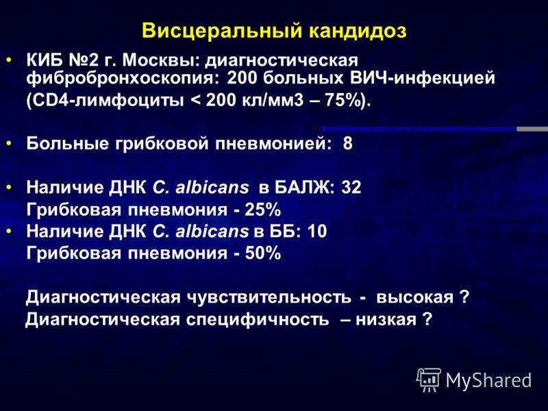 Висцеральный кандидоз КИБ 2 г. Москвы: диагностическая фибробронхоскопия: 200 больных ВИЧ-инфекцией (CD4-лимфоциты < 200 кл/мм3 – 75%). Больные грибковой пневмонией: 8 Наличие ДНК C. albicans в БАЛЖ: 32 Грибковая пневмония - 25% Наличие ДНК C. albica