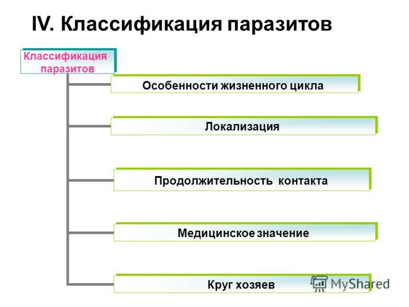 Классификация паразитов Особенности жизненного цикла Круг хозяев Продолжительность контакта Медицинское значение Локализация IV. Классификация паразитов