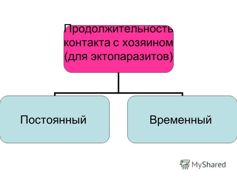 Продолжительность контакта с хозяином (для эктопаразитов) ПостоянныйВременный