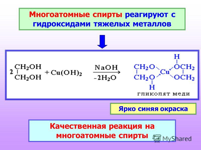Многоатомные спирты реагируют с гидроксидами тяжелых металлов Качественная реакция на многоатомные спирты Ярко синяя окраска