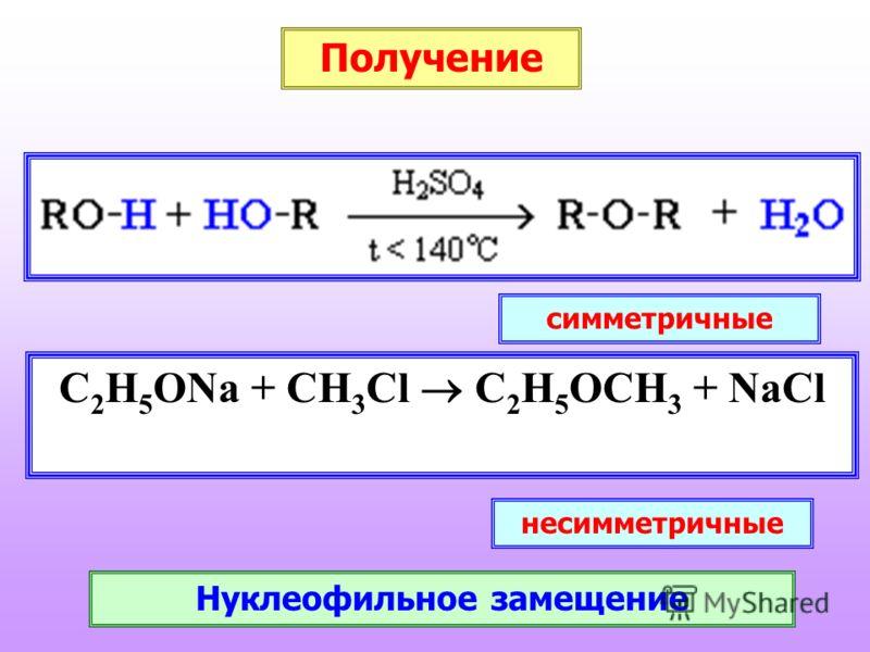 Получение C 2 H 5 ONa + CH 3 Cl C 2 H 5 OCH 3 + NaCl симметричные несимметричные Нуклеофильное замещение
