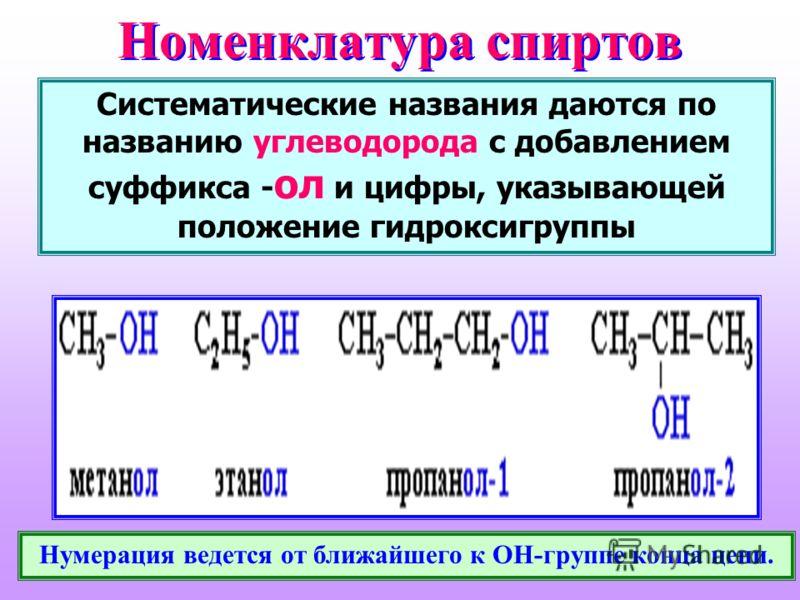 Номенклатура спиртов Систематические названия даются по названию углеводорода с добавлением суффикса - ол и цифры, указывающей положение гидроксигруппы Нумерация ведется от ближайшего к ОН-группе конца цепи.