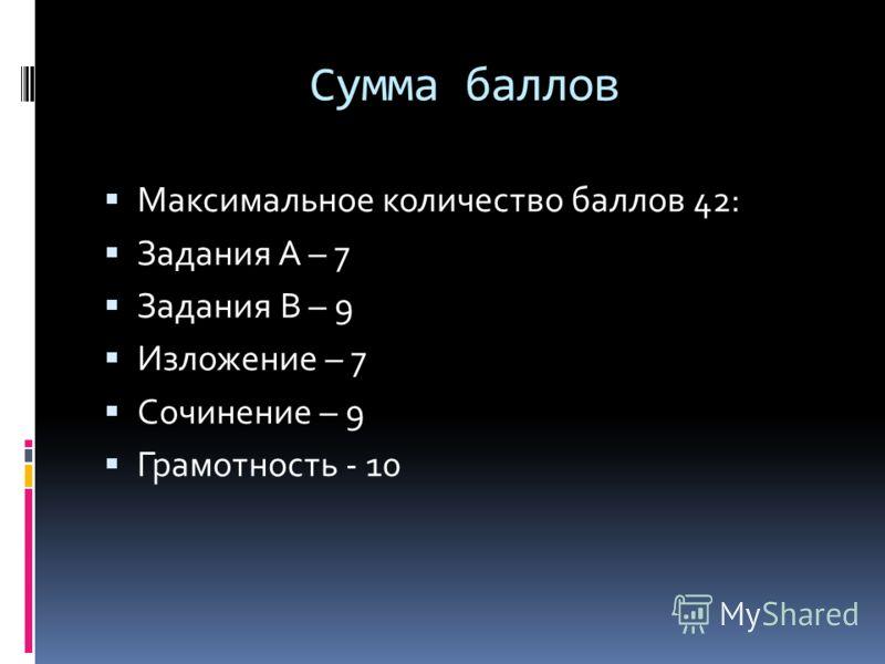 Сумма баллов Максимальное количество баллов 42: Задания А – 7 Задания В – 9 Изложение – 7 Сочинение – 9 Грамотность - 10