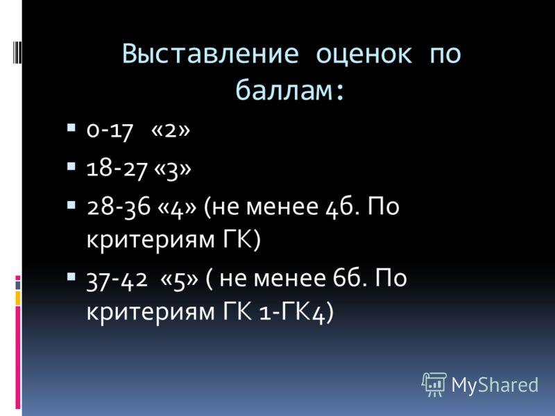 Выставление оценок по баллам: 0-17 «2» 18-27 «3» 28-36 «4» (не менее 4б. По критериям ГК) 37-42 «5» ( не менее 6б. По критериям ГК 1-ГК4)