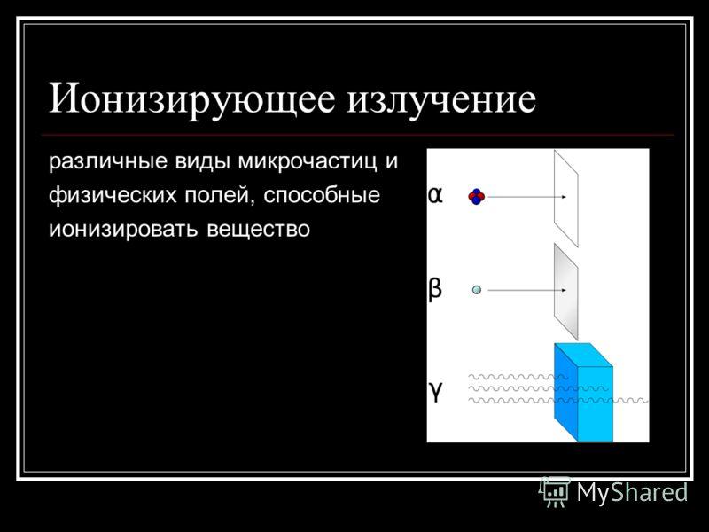 Ионизирующее излучение различные виды микрочастиц и физических полей, способные ионизировать вещество