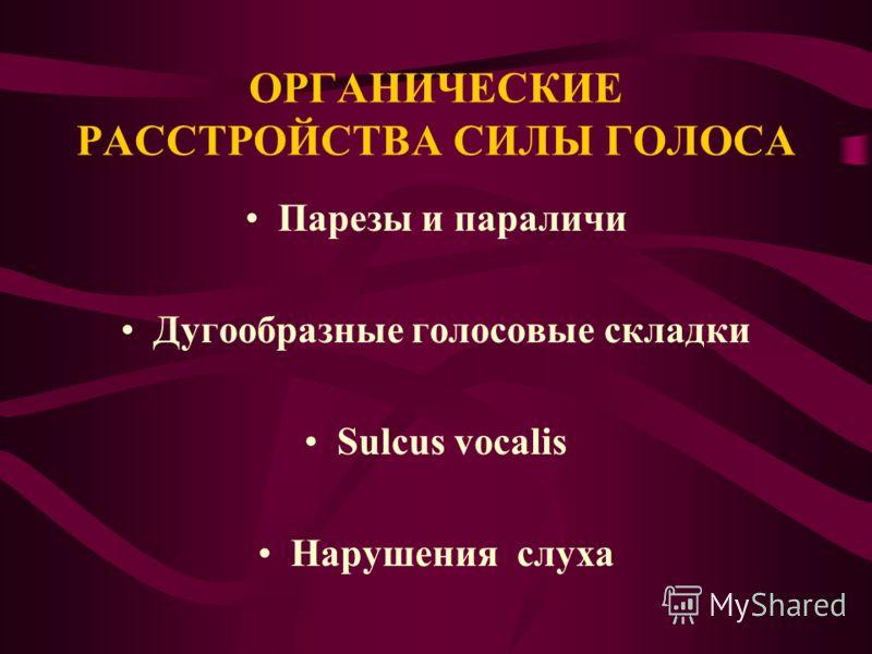 ОРГАНИЧЕСКИЕ РАССТРОЙСТВА СИЛЫ ГОЛОСА Парезы и параличи Дугообразные голосовые складки Sulcus vocalis Нарушения слуха