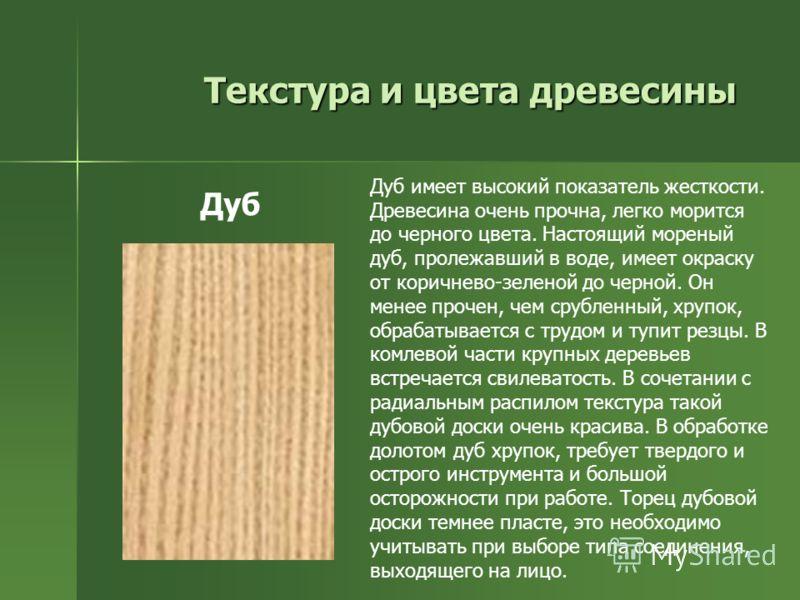 Текстура и цвета древесины Дуб имеет высокий показатель жесткости. Древесина очень прочна, легко морится до черного цвета. Настоящий мореный дуб, пролежавший в воде, имеет окраску от коричнево-зеленой до черной. Он менее прочен, чем срубленный, хрупо