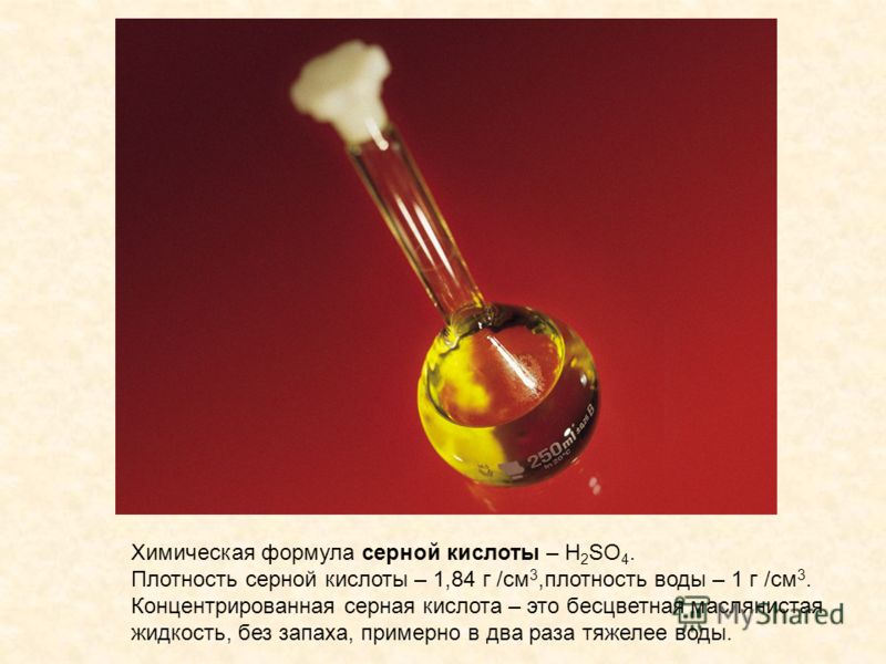 Химическая формула серной кислоты – H 2 SO 4. Плотность серной кислоты – 1,84 г /см 3,плотность воды – 1 г /см 3. Концентрированная серная кислота – это бесцветная маслянистая жидкость, без запаха, примерно в два раза тяжелее воды.