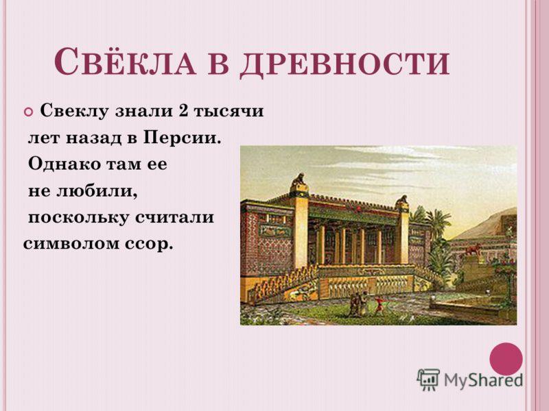 С ВЁКЛА В ДРЕВНОСТИ Свеклу знали 2 тысячи лет назад в Персии. Однако там ее не любили, поскольку считали символом ссор.