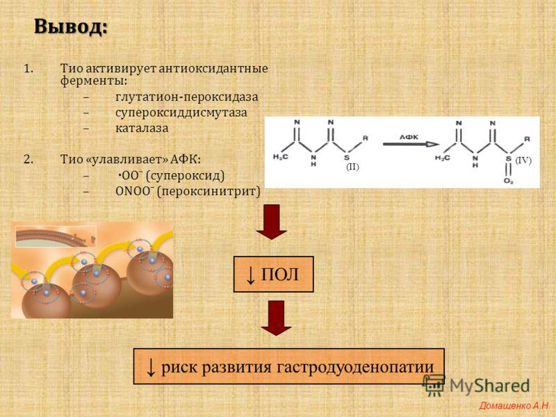 Вывод: 1.Тио активирует антиоксидантные ферменты: –глутатион-пероксидаза –супероксиддисмутаза –каталаза 2.Тио «улавливает» АФК: – ·ООˉ (супероксид) –ONOOˉ (пероксинитрит) (II) (IV) ПОЛ риск развития гастродуоденопатии Домащенко А.Н.