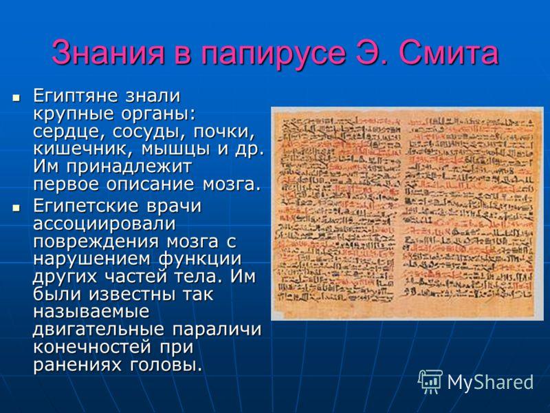 Знания в папирусе Э. Смита Египтяне знали крупные органы: сердце, сосуды, почки, кишечник, мышцы и др. Им принадлежит первое описание мозга. Египтяне знали крупные органы: сердце, сосуды, почки, кишечник, мышцы и др. Им принадлежит первое описание мо