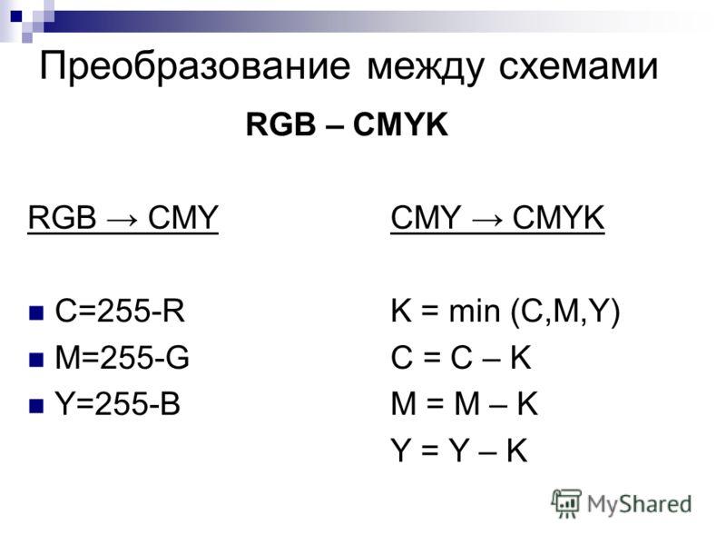 Преобразование между схемами RGB – CMYK RGB CMYCMY CMYK C=255-R K = min (C,M,Y) M=255-G C = C – K Y=255-B M = M – K Y = Y – K