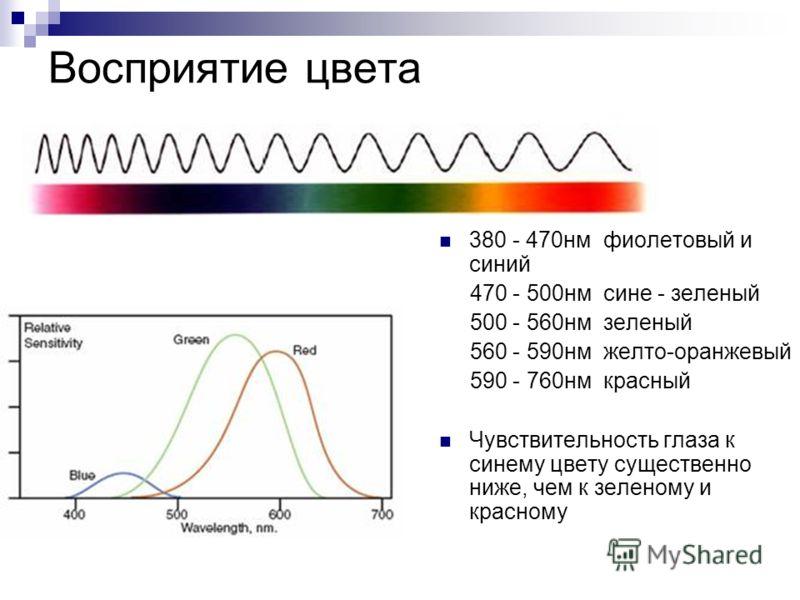 Восприятие цвета 380 - 470нм фиолетовый и синий 470 - 500нм сине - зеленый 500 - 560нм зеленый 560 - 590нм желто-оранжевый 590 - 760нм красный Чувствительность глаза к синему цвету существенно ниже, чем к зеленому и красному