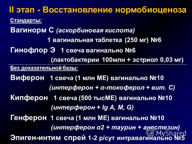 Стандарты: Вагинорм С (аскорбиновая кислота) 1 вагинальная таблетка (250 мг) 6 Гинофлор Э 1 свеча вагинально 6 (лактобактерии 100млн + эстриол 0,03 мг) Без доказательной базы: Виферон 1 свеча (1 млн МЕ) вагинально 10 (интерферон + α-токоферол + вит.