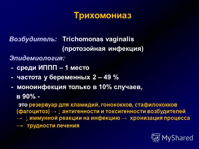 Трихомониаз Возбудитель: Trichomonas vaginalis (протозойная инфекция) Эпидемиология: - среди ИППП – 1 место - частота у беременных 2 – 49 % - моноинфекция только в 10% случаев, в 90% - это резервуар для хламидий, гонококков, стафилококков (фагоцитоз)