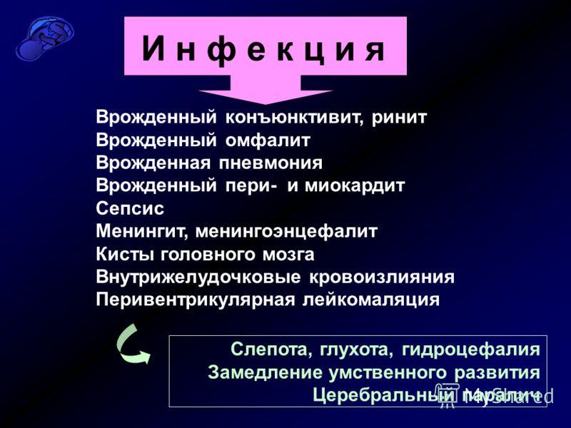 И н ф е к ц и я Врожденный конъюнктивит, ринит Врожденный омфалит Врожденная пневмония Врожденный пери- и миокардит Сепсис Менингит, менингоэнцефалит Кисты головного мозга Внутрижелудочковые кровоизлияния Перивентрикулярная лейкомаляция Слепота, глух