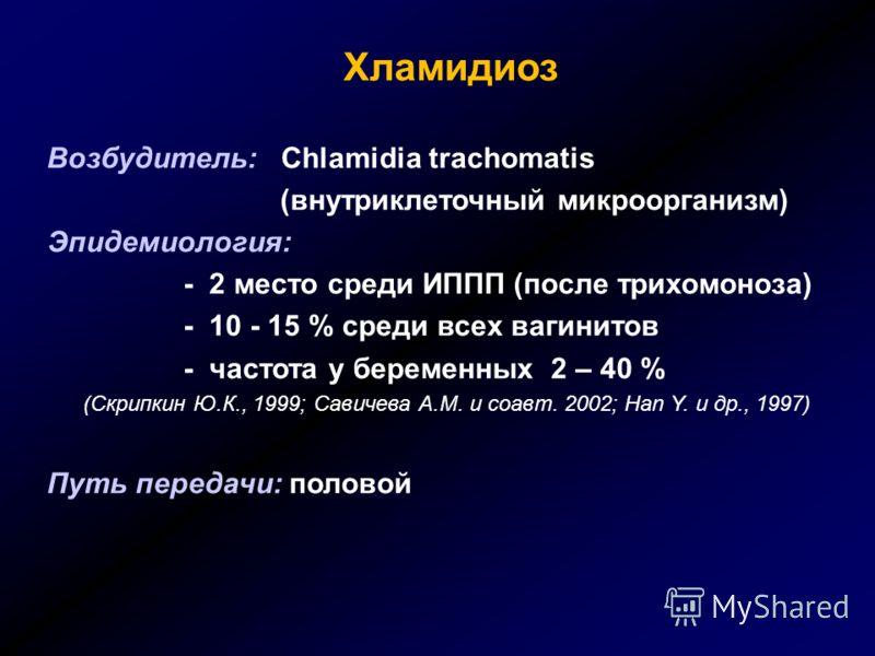 Хламидиоз Возбудитель: Chlamidia trachomatis (внутриклеточный микроорганизм) Эпидемиология: - 2 место среди ИППП (после трихомоноза) - 10 - 15 % среди всех вагинитов - частота у беременных 2 – 40 % (Скрипкин Ю.К., 1999; Савичева А.М. и соавт. 2002; H