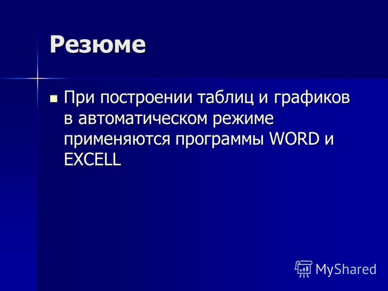 Резюме При построении таблиц и графиков в автоматическом режиме применяются программы WORD и EXCELL При построении таблиц и графиков в автоматическом режиме применяются программы WORD и EXCELL