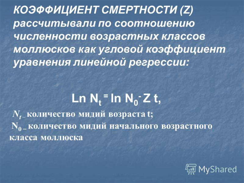 КОЭФФИЦИЕНТ СМЕРТНОСТИ (Z) рассчитывали по соотношению численности возрастных классов моллюсков как угловой коэффициент уравнения линейной регрессии: Ln N t = ln N 0 - Z t, N t – количество мидий возраста t; N 0 – количество мидий начального возрастн